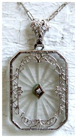 Antique Vintage Diamond Camphor Glass Pendant in 14K White Gold with Original 16 inch chain