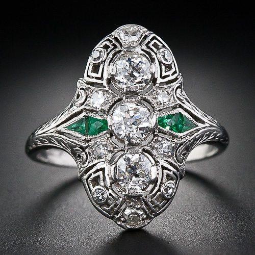 Art Deco diamond calibre emerald dinner ring, circa 1930's. Via Diamonds in the Library.
