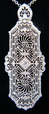 Art Deco diamond filigree lavalier necklace in 14k white gold.