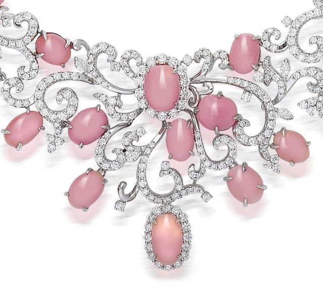 Detail; a pink conch pearl and diamond necklace.