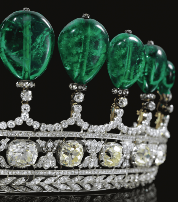 Detail: Magnificent and rare antique emerald and diamond tiara. Via Diamonds in the Library.