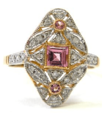 Pink tourmaline and diamond ring, listed on eBay by Dover Jewelry. Via Diamonds in the Library.