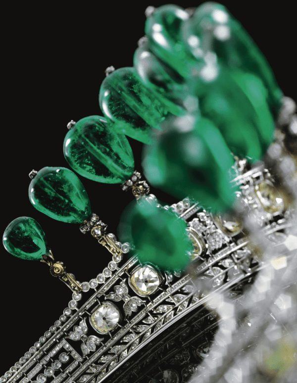 Alternate view: Magnificent and rare emerald and diamond tiara. Via Diamonds in the Library.