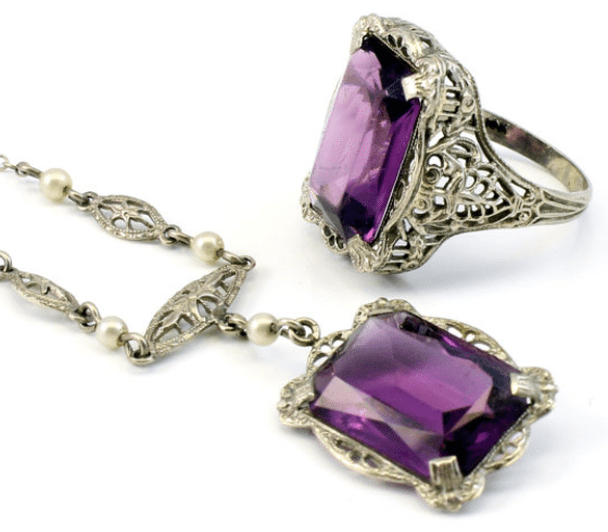 10K Antique Art Deco amethyst pearl filigree necklace and ring set. Via Diamonds in the Library.
