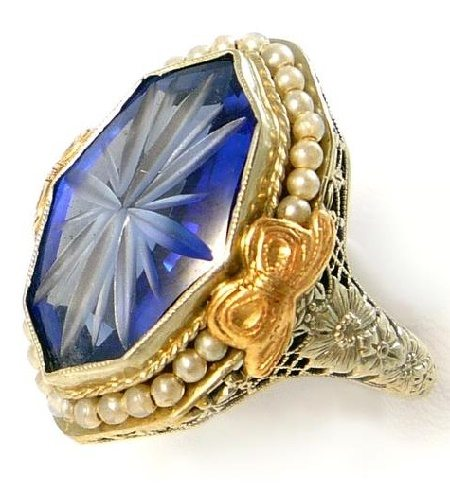 14K Antique Belais Art Deco sapphire and pearl filigree ring. Via Diamonds in the Library.