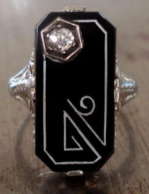 Antique Art Deco Onyx and Diamond Ring