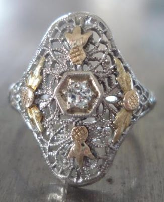 Antique Art Deco or Edwardian ring in yellow and white gold with diamonds