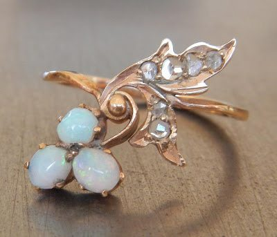 Antique Opal and Rose Cut Russian Diamond Ring