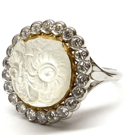 Antique owl-shaped carved moonstone and diamond ring, circa 1880. Via Diamonds in the Library.