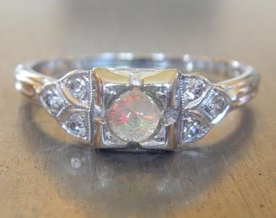 Art Deco Opal and Diamond 18K Gold Ring