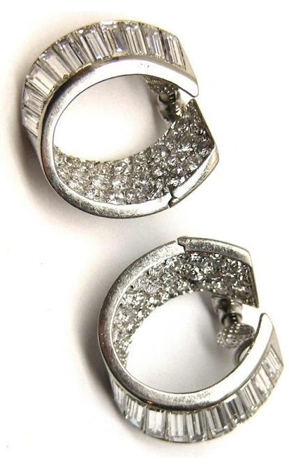 Art Deco brilliant and baguette cut diamond hoop earrings. French, circa 1935.