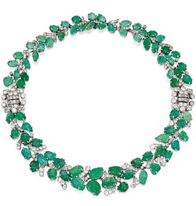 Art Deco emerald and diamond necklace and bracelet combination, circa 1930. Via Diamonds in the Library.
