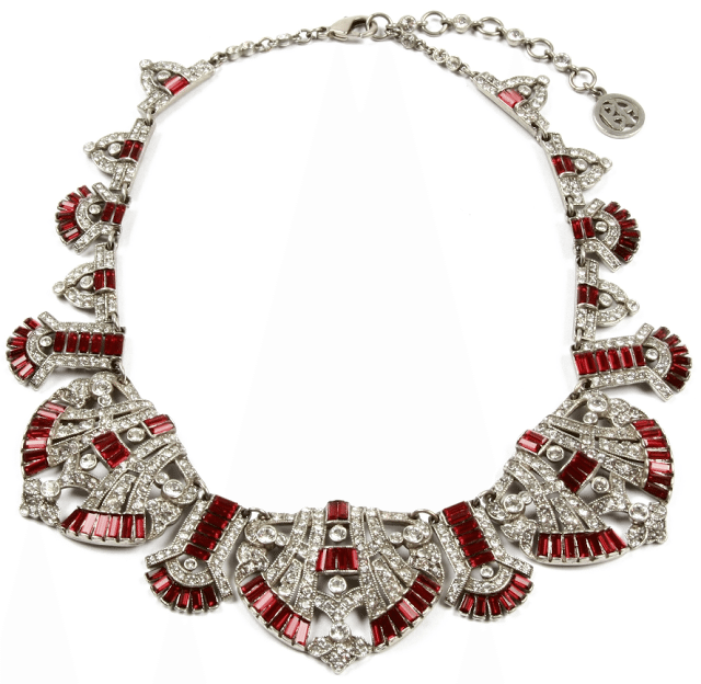 Ben-Amun Ruby Deco Crystal Statement Necklace. Via Diamonds in the Library.