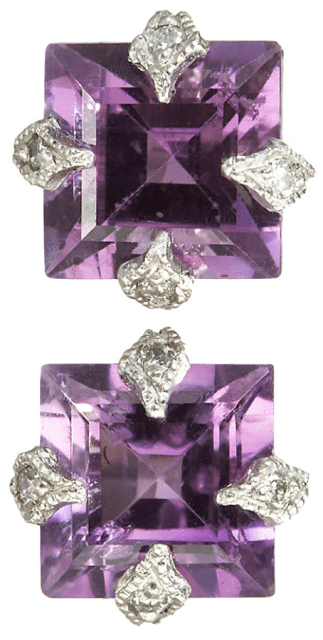 Cathy Waterman Diamond & Amethyst Stud Earrings. Via Diamonds in the Library.