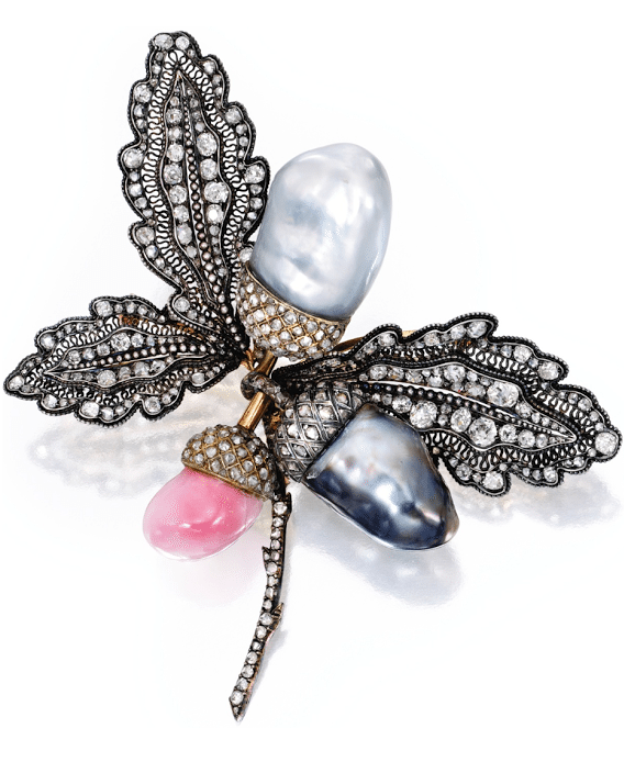 Conch pearl, cultured pearl, and diamond brooch. Silver-topped gold. Via Diamonds in the Library.