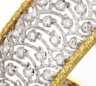 Detail; a Buccellati gold lace and diamond bracelet. Via Diamonds in the Library.