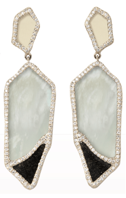 Earrings are made from fossilized woolly mammoth, opal, jade, and 1.14 carats of diamonds. By Monique Pean. Via Diamonds in the Library.