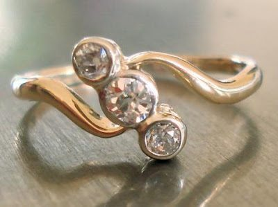 Engagement Ring - Antique Diamond in Art Nouveau Style