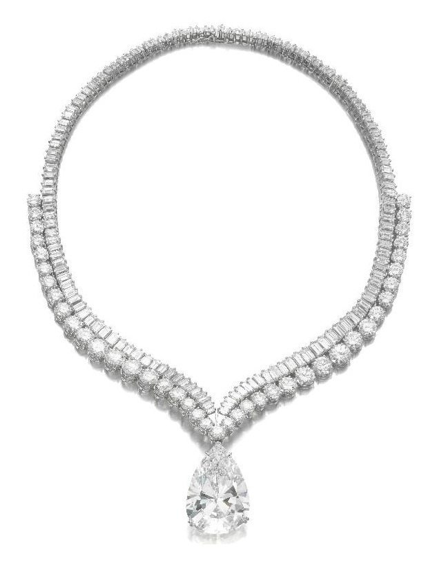 Highly important diamond necklace with 41.40 carat diamond drop. Via Diamonds in the Library.