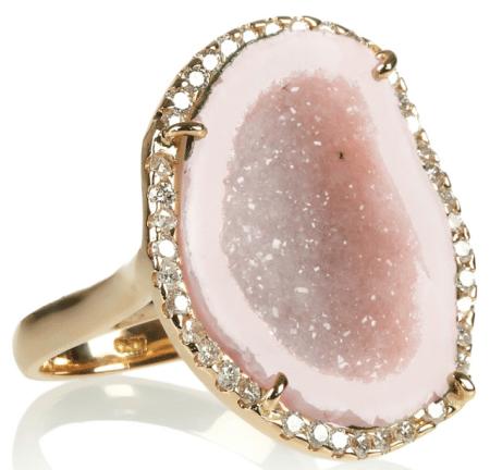 Kimberly McDonald 18-karat rose gold, geode and diamond ring. Via Diamonds in the Library.