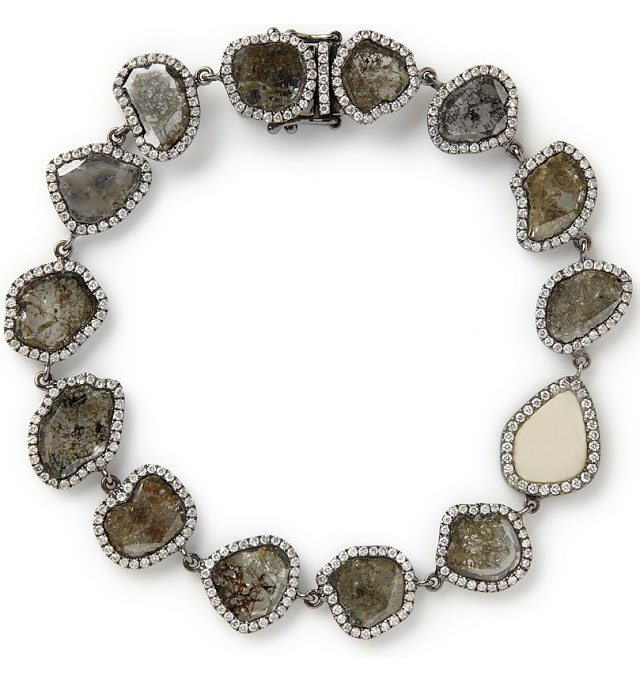 Made-to-order conflict and devastation free diamond slice bracelet with fossilized woolly mammoth slice and white diamond pavé, 18K recycled oxidized white gold. By Monique Pean.