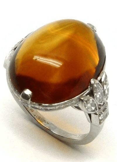 Retro citrine and diamond ring. Circa 1950. Via Diamonds in the Library.