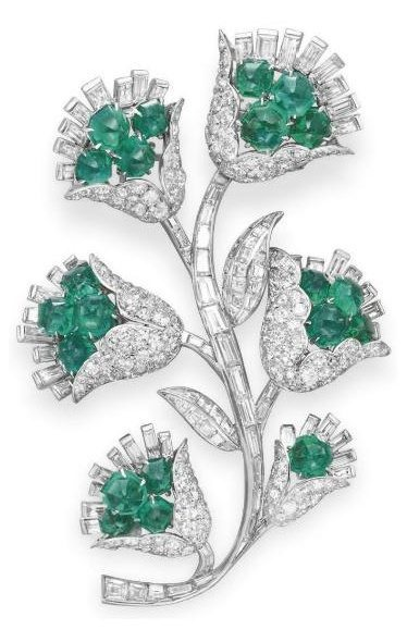 Retro emerald and diamond brooch, Van Cleef and Arpels.