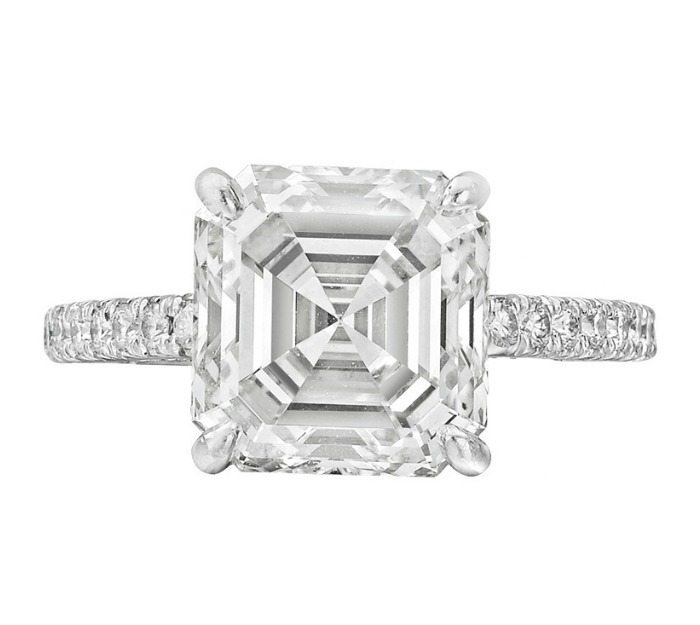 4.51 carat asscher-cut diamond ring from Betteridge's estate collection. Via Diamonds in the Library.