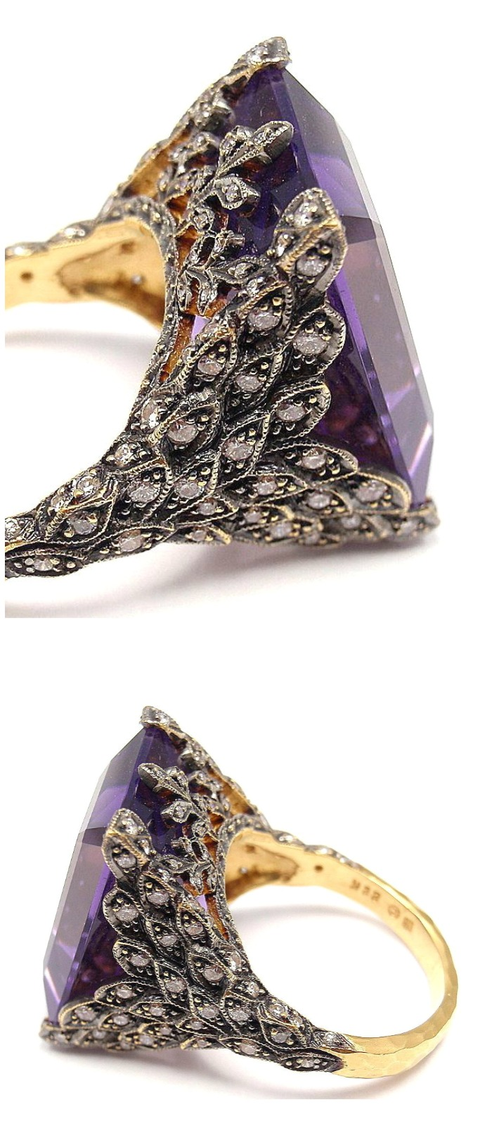 A Cathy Waterman gold, diamond and amethyst ring.