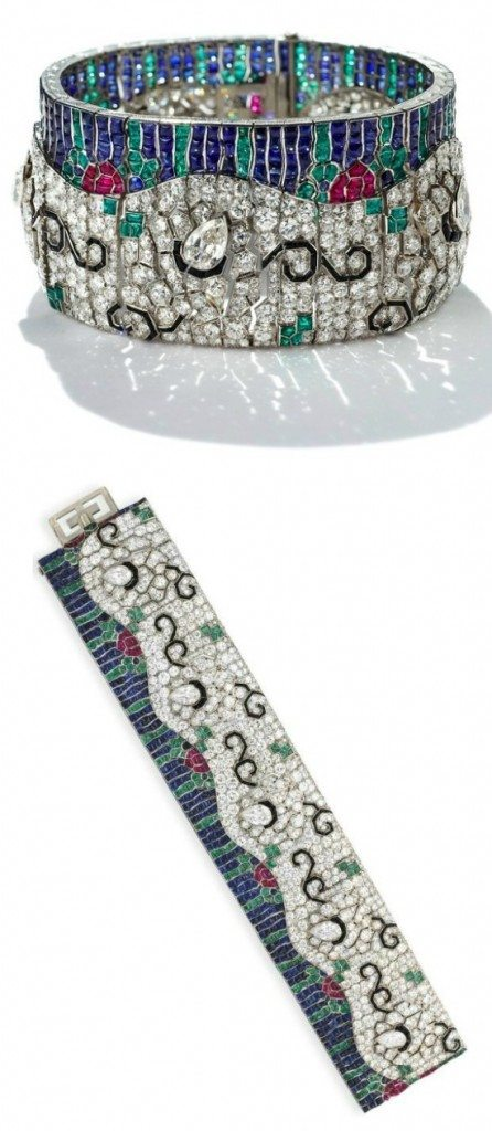 A remarkable Art Deco diamond and multi-gem wave bracelet by Rubel Freres. Circa 1925. Via Diamonds in the Library.