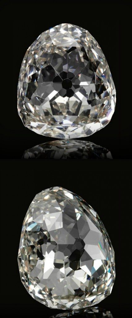 Alternate view; The Beau Sancy - a 34.98 carat a modified pear double rose-cut diamond previously owned by the royal family of Prussia. Via Diamonds in the Library.