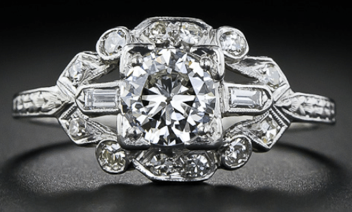 Art Deco platinum and diamond engagement ring, circa 1920. Via Diamonds in the Library.