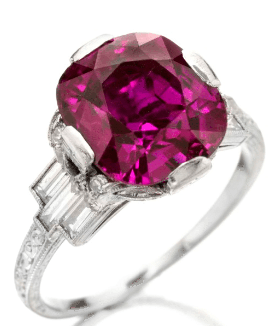 Art Deco purplish-pink sapphire and diamond ring, circa 1920. Via Diamonds in the Library.