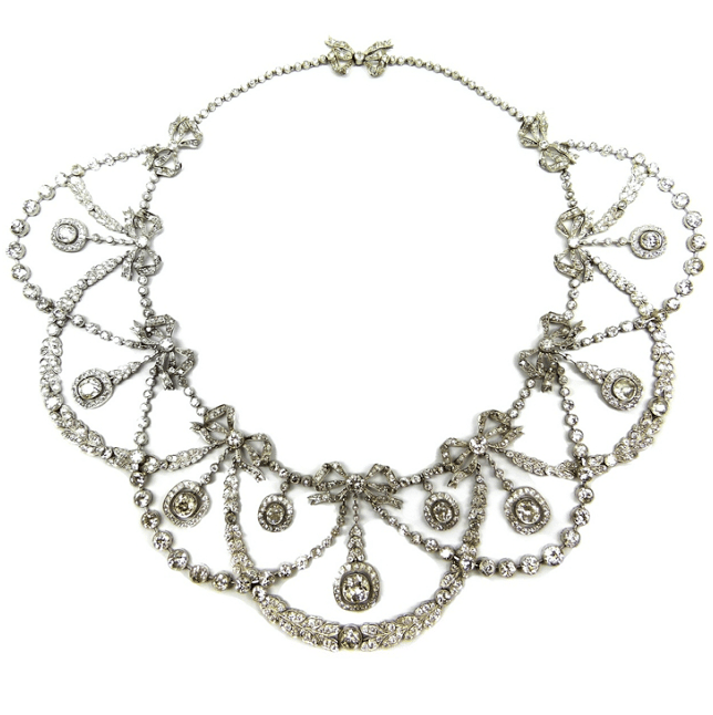 Belle Epoque diamond garland necklace with tiny bows, circa 1900. Via Diamonds in the Library.