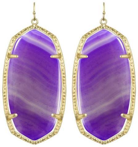 Danielle earrings in purple agate. By Kendra Scott. Via Diamonds in the Library.