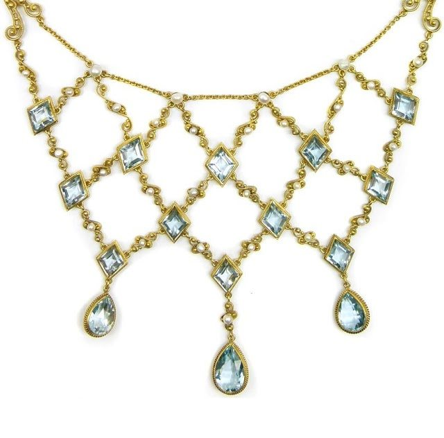 Detail; antique gold filigree, aquamarine, and pearl necklace, circa 1890. Via Diamonds in the Library.