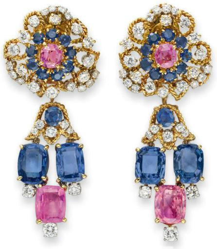 Diamond, sapphire, and pink sapphire ear pendants by Van Cleef and Arpels, circa 1962. Via Diamonds in the Library.
