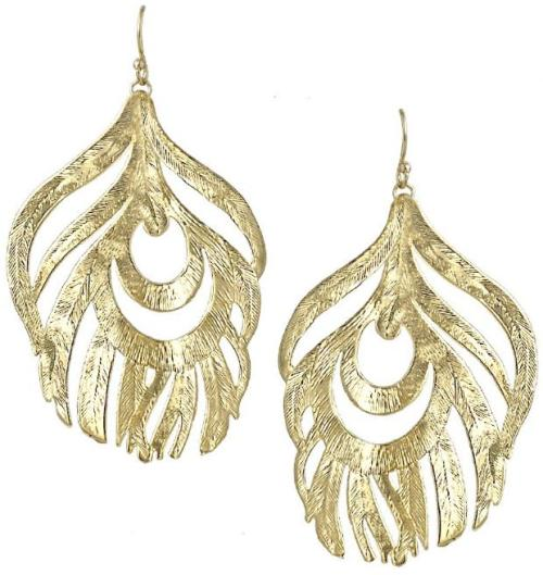 Karina feather earrings in gold. By Kendra Scott. Via Diamonds in the Library.