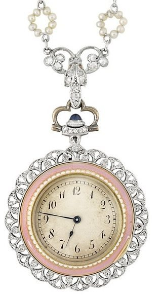 Reverse side: enamel, seed pearl, and diamond pendant-watch. Belle Epoque, circa 1910. Via Diamonds in the Library.