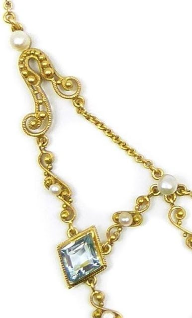 Swag detail; antique gold filigree, aquamarine, and pearl necklace, circa 1890. Via Diamonds in the Library.
