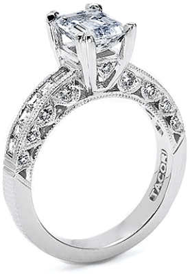 A Tacori channel-set and pave diamond engagement ring with an emerald-cut center stone.