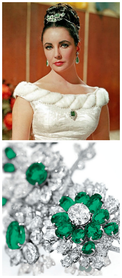 A young Elizabeth Taylor looking beautiful in her Bulgari emerald and diamond suite (minus the necklace).