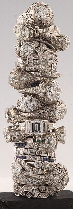 Antique engagement and wedding rings at Barker's Antique Jewelry.