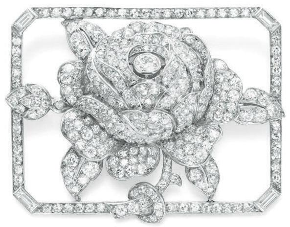 Art Deco diamond rose brooch by Lacloche, circa 1925. Via Diamonds in the Library.