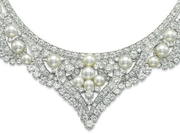 Detail - David Webb pearl and diamond necklace that converts into a tiara. Via Diamonds in the Library.