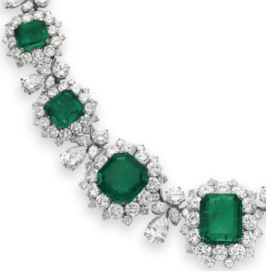 Detail - Necklace from Elizabeth Taylor's Bulgari emerald and diamond suite, circa 1962. Via Diamonds in the Library.