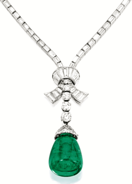 Detail of a Van Cleef and Arpels diamond and emerald pendant necklace, circa 1951. Via Diamonds in the Library.