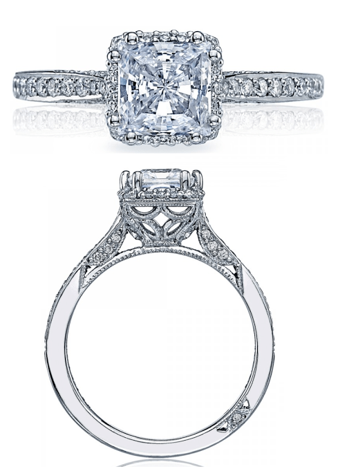 Diamond engagement ring from Tacori's Dantela collection. Via Diamonds in the Library.