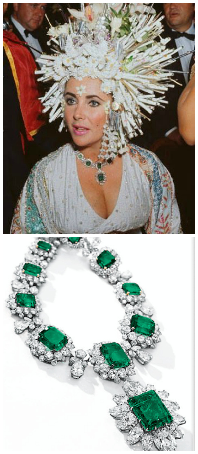 Elizabeth Taylor looking amazing in an incredible hat and pieces from her Bulgari emerald and diamond suite.