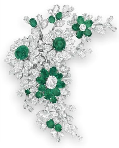 Floral brooch from Elizabeth Taylor's Bulgari emerald and diamond suite, circa 1960. Via Diamonds in the Library.